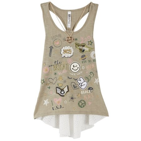 Beautees Big Girls Emoji Tank Top