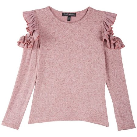 Derek Heart Girl Big Girls Ruffle Sleeve Sweater