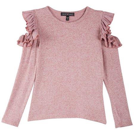 Derek Heart Girl Big Girls Ruffle Sleeve Sweater