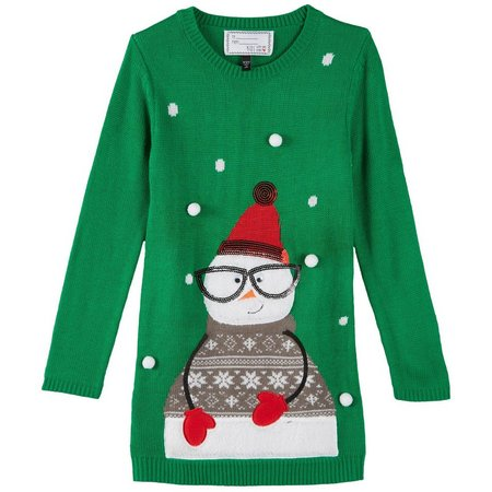 Derek Heart Girl Big Girls Snowman Tunic Sweater