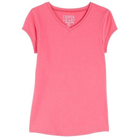 Derek Heart Girl Big Girls Solid V-Neck T-Shirt