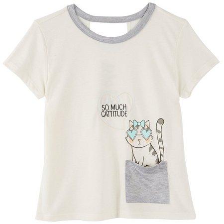 Hybrid Big Girls Cattitude Pocket T-Shirt