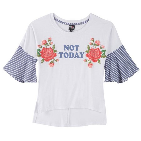 Ransom Girl Big Girls Not Today Embroidered Top