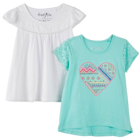 Freestyle Big Girls 2-pk. Boho Heart T-Shirts