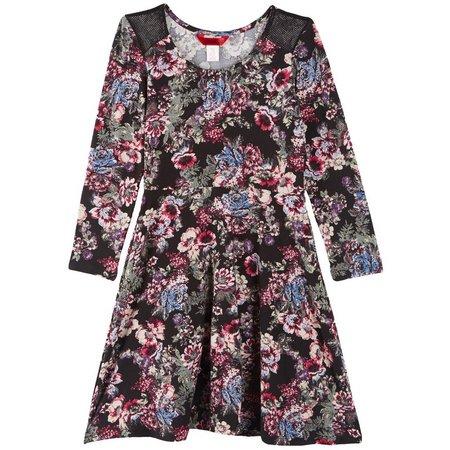 1st Kiss Little Girls Floral Print Skater Dress