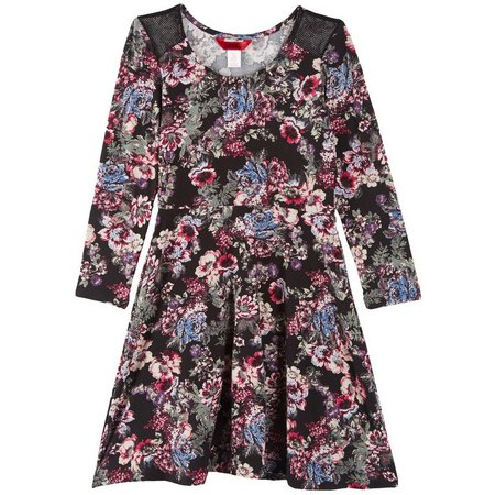 1st Kiss Big Girls Floral Print Skater Dress