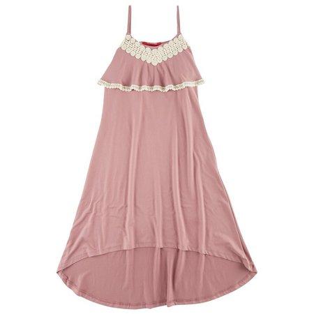 1st Kiss Big Girls Solid Crochet Trim Dress