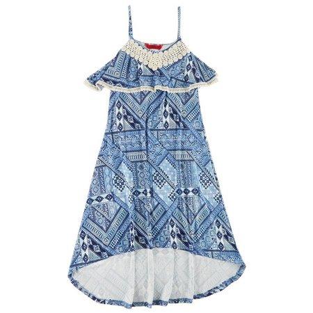 1st Kiss Big Girls Aztec Print Crochet Dress