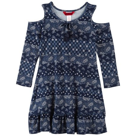 1st Kiss Little Girls Floral Cold Shoulder Dress