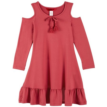 1st Kiss Little Girls Cold Shoulder Ruffle Dress