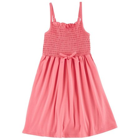 1st Kiss Little Girls Solid Smocked Dress