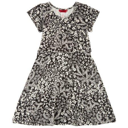 1st Kiss Big Girls Vine Print Skater Dress