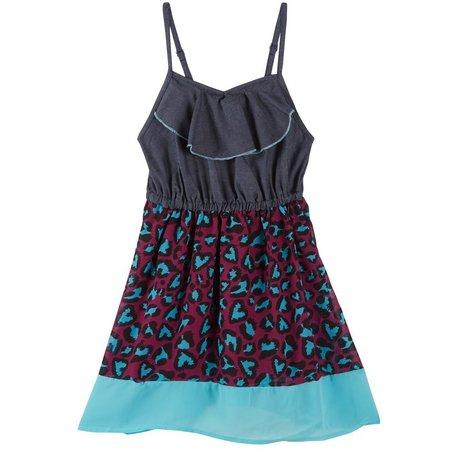 Dollhouse Little Girls Cougar Heart Print Dress