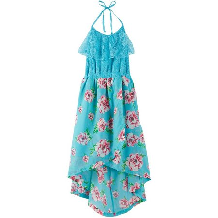 Dollhouse Big Girls Floral Lace Popover Dress