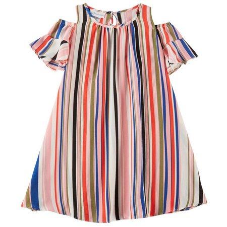 Bonnie Jean Little Girls Stripe Cold Shoulder Dress