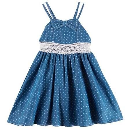 Bonnie Jean Big Girls Denim Dot Dress