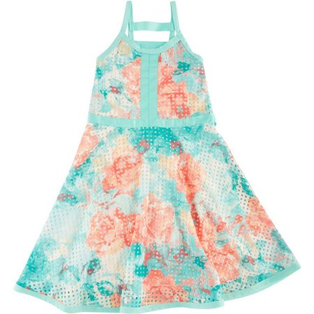 Bonnie Jean Big Girls Floral Cutout Dress
