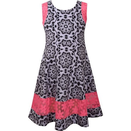 Bonnie Jean Big Girls Medallion Scuba Dress