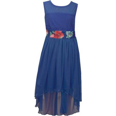 Bonnie Jean Little Girls Floral Waist High-Low Dress