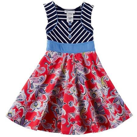 Bonnie Jean Little Girls Paisley Stripe Fit &