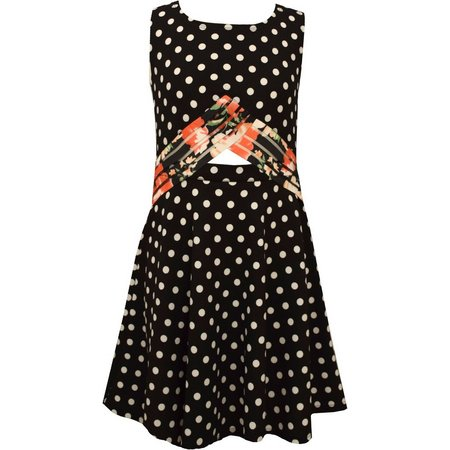 Bonnie Jean Little Girls Peek-A-Boo Dot Dress