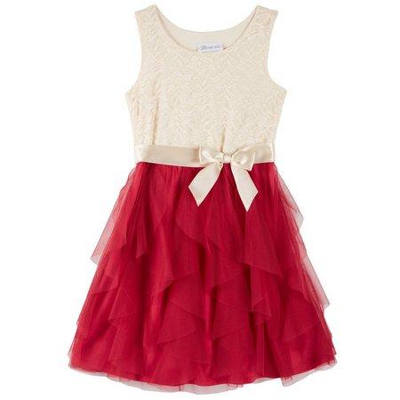 Bonnie Jean Big Girls Lace Cascasde Dress