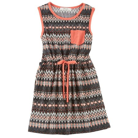 Kids Republic Big Girls Aztec Print Pocket Dress