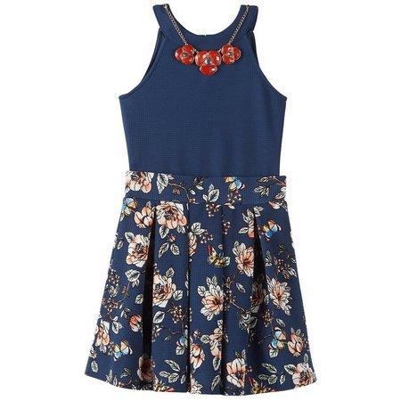 Beautees Big Girls Bodysuit Floral Skirt Set
