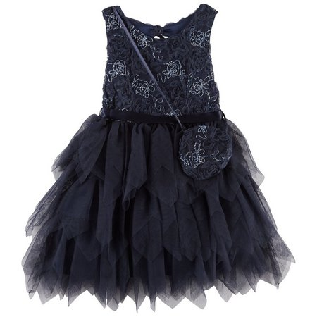 Beautees Little Girls Sequined Floral Dress