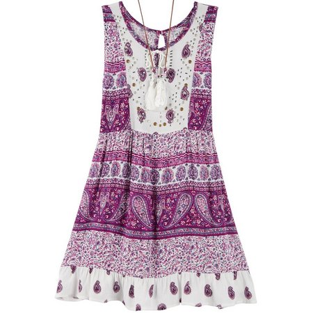 Beautees Big Girls Paisley Boho Dress