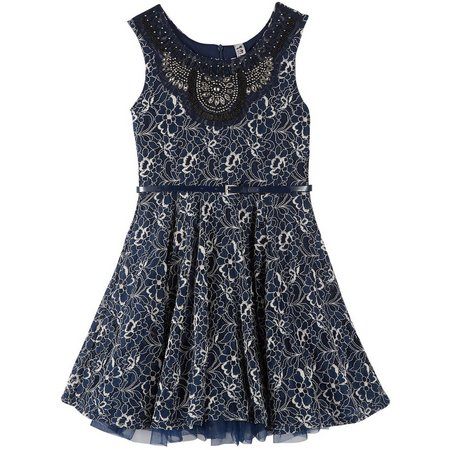 New! Beautees Big Girls Floral Lace Belted Dress