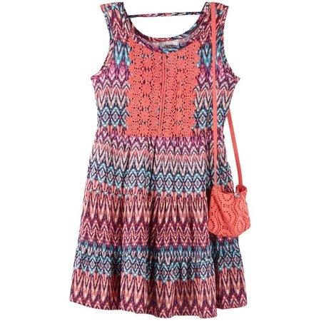 New! Beautees Little Girls Chevron Print Dress