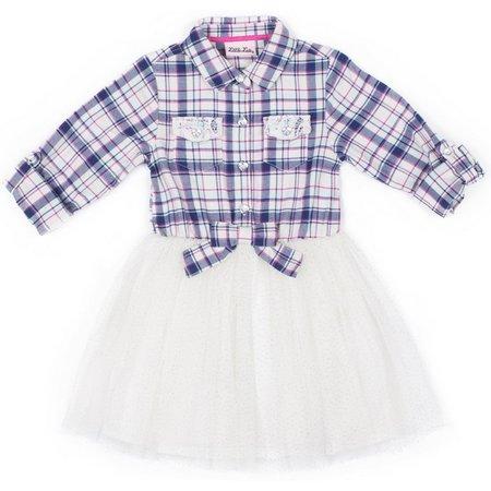 Little Lass Little Girls Plaid Tie Tutu Dress