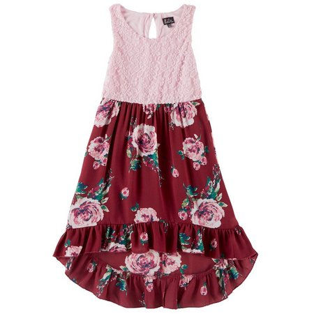 Lilt Big Girls Floral Lace Chiffon Dress