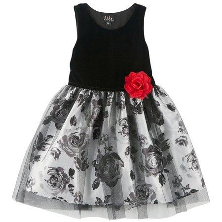 Lilt Little Girls Floral Velvet Dress