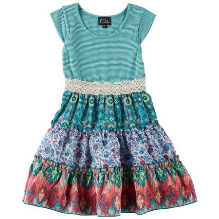 Lilt Little Girls Stripe Crochet Waist Dress