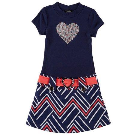Lilt Little Girls Sparkle Heart Marsha Dress
