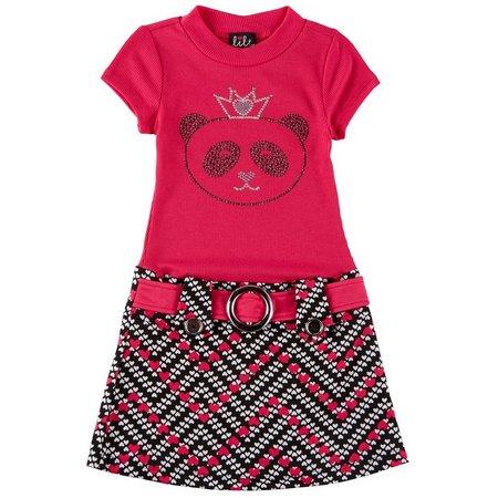 Lilt Little Girls Sparkle Panda Marsha Dress
