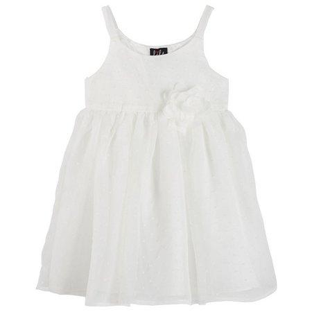 Lilt Little Girls Solid Swiss Dot Dress