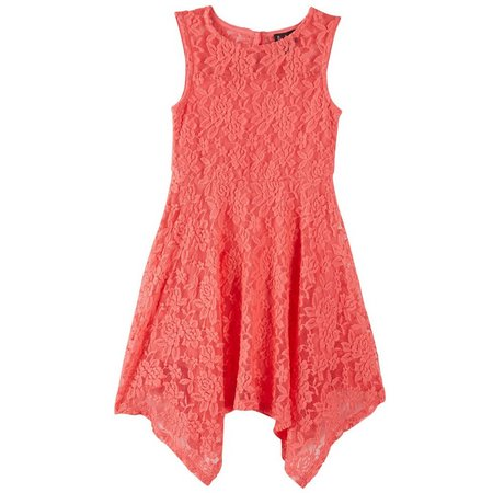 Lilt Little Girls Floral Lace Sharkbite Dress