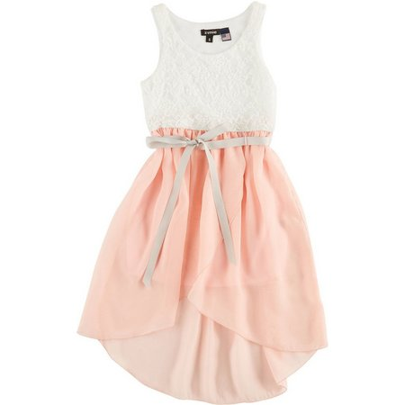 Lilt Big Girls Ivory & Blush Lace Dress