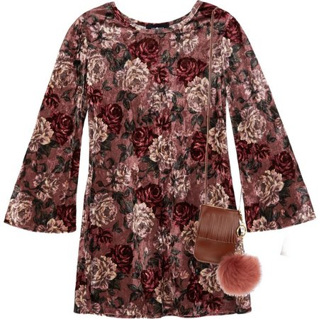 Amy Byer Big Girls Panne Velvet Floral Dress