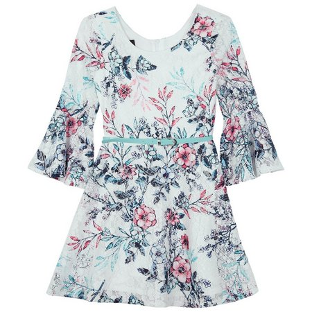 Amy Byer Big Girls Floral Bell Sleeve Dress