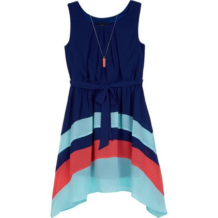 Amy Byer Big Girls Colorblock Sharkbite Dress