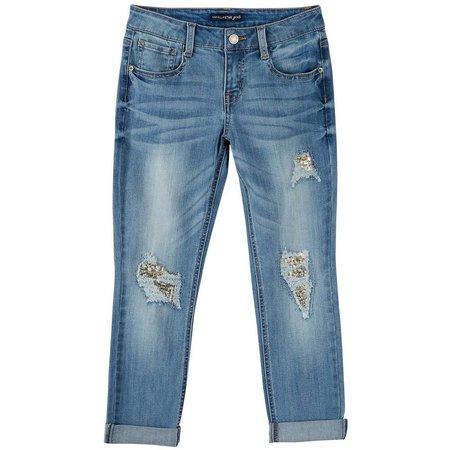 Vanilla Star Big Girls Sequin Distress Crop Jeans