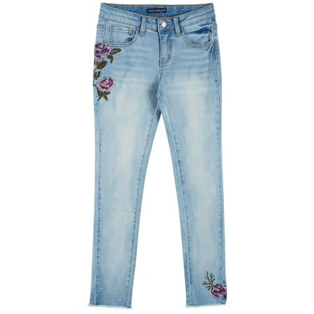 Imperial Star Big Girls Floral Embroidered Jeans