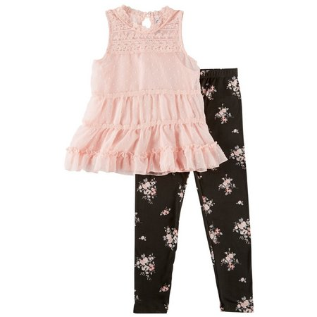 Beautees Big Girls 3-pc. Victorian Floral Leggings Set