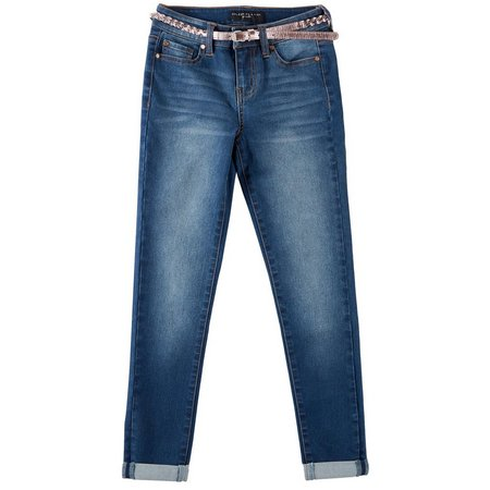 Celebrity Pink Big Girls Foil Belted Ankle Jeans