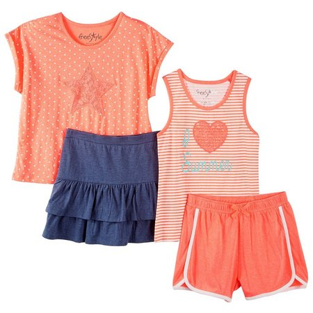 Freestyle Big Girls 4-pc. Summer Dot Shorts Set