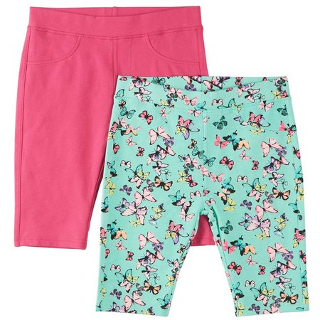 Freestyle Big Girls 2-pk. Butterfly Bermuda Shorts